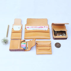 Handmade Wooden Brown Leather Mens Wallet Small Card Holder Coin Wallet for Men
