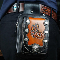 Cool Leather Mens Engraved Scorpion Biker Belt Pouch Waist Bag Drop Leg Bag for Men