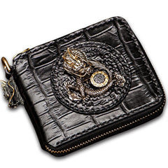 Handmade Leather Chinese Dragon Tooled Mens billfold Wallet Cool Chain Wallet Biker Wallet for Men