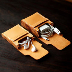 Handmade Wooden Brown Leather Cool Mens Wallet Small Card Holder Coin Wallet for Men