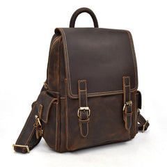 Leather Mens Cool Backpack Large Coffee Travel Bag Hiking Bag For Men