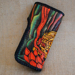 Handmade Mens Tooled GoldenToad Leather Chain Wallet Biker Trucker Wallet with Chain