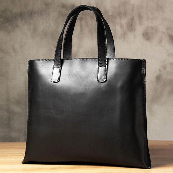 Handmade Leather Vintage Mens Black Coffee Tote Bag Cool Handbag Shoulder Bag for Men