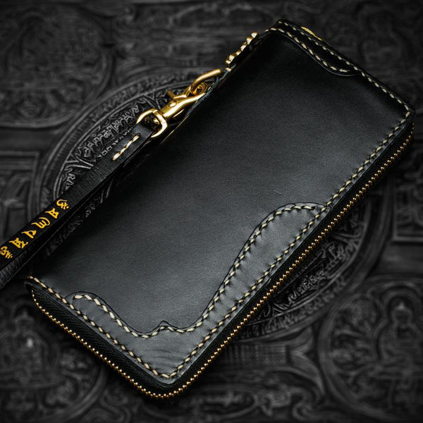 Handmade Leather Black Chain Wallet Mens Biker Wallet Cool Leather Wallet Long Phone Wallets for Men