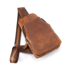 Cool Leather Chest Bag Sling Bag Sling Crossbody Bag Sling Travel Bag Sling Hiking Bag For Men