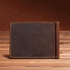 Trendy Leather Mens Small Bifold Wallet billfold Wallet Front Pocket Wallets Cardholder Wallets for Men