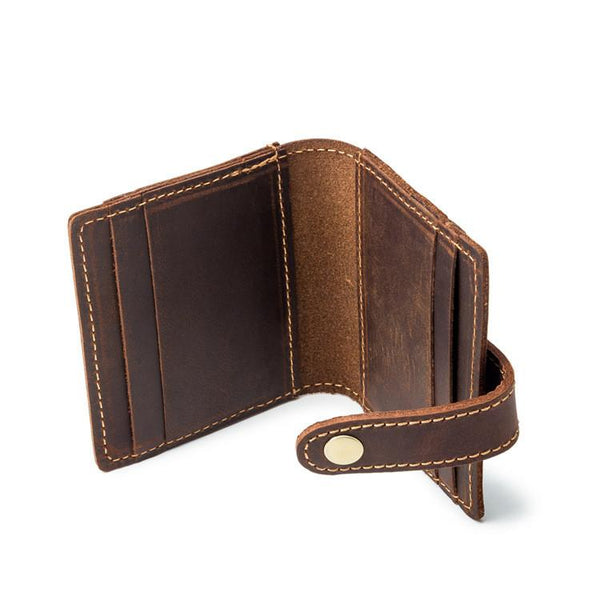VINTAGE BROWN LEATHER MEN'S FRONT POCKET WALLETs Dark Brown SLIM CARD billfold WALLET SMALL WALLET FOR MEN