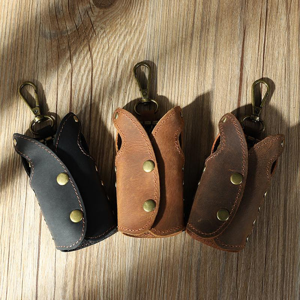 Vintage Leather Mens Key Wallet Car Key Holders with Belt Clip for Men