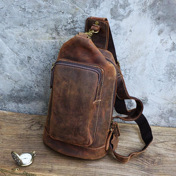 Vintage Large Leather Mens Sling Bag Brown Sling Pack Sling Backpack for Men