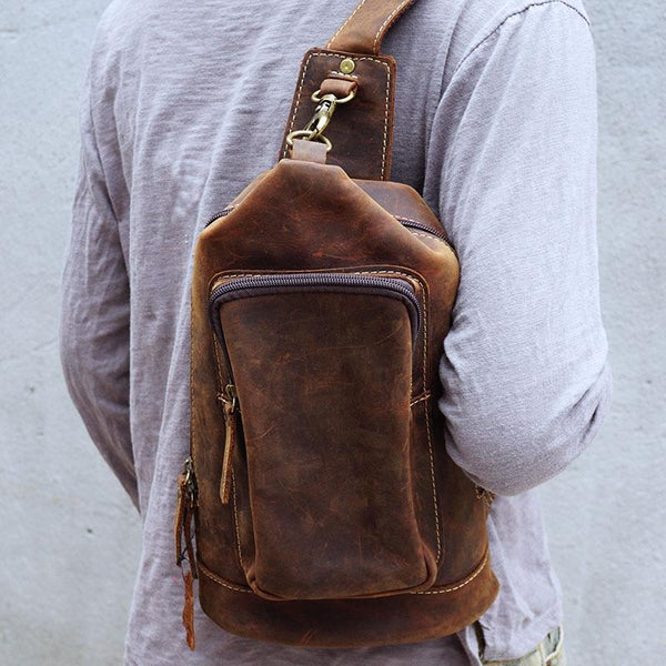 Vintage Large Brown Leather Mens Sling Bag Sling Pack Sling Backpack for Men