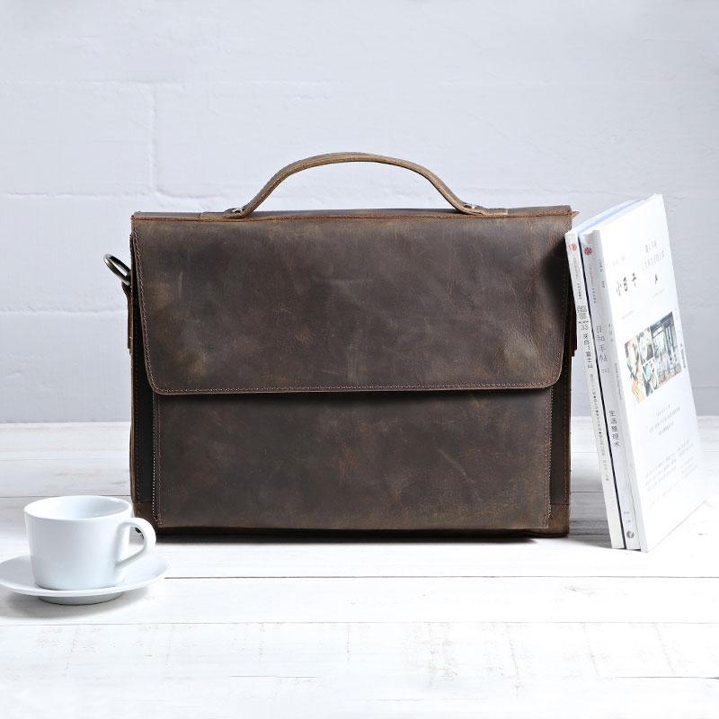 Vintage Coffee Leather Mens Briefcases Work Bag Laptop Bag Business Bag for Men