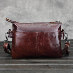Vintage Leather Mens Small Messenger Bag Shoulder Bag Crossbody Bag for Men