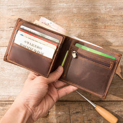 Vintage Leather Mens Small Wallets Bifold Slim billfold Wallet for Men
