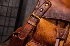 Vintage Mens Leather School Backpack Travel Backpack Leather Hiking Backpack for Men
