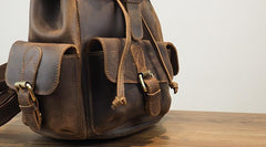 Vintage Mens Leather Small Backpack Travel Backpack Leather School Backpacks for Men