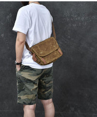 Waxed Canvas Leather Mens Gray Side Bag Khaki Messenger Bag Small Courier Bag For Men