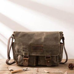 Waxed Canvas Messenger Bags for men Vintage Shoulder Bag for men