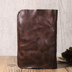 Wrinkled Leather Mens Brown billfold Wallet Front Pocket Leather Black Bifold Wallet Small Wallets for Men