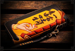 Handmade Leather Tooled At Whim Mens Chain Biker Wallet Cool Leather Wallet Long Phone Wallets for Men