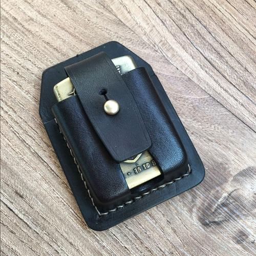 Handmade Black Leather Classic Zippo Lighter Case Standard Zippo Lighter Holder Pouch For Men