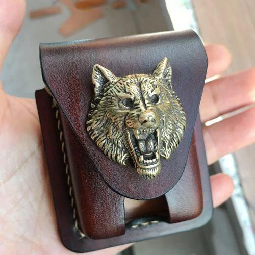 Handmade Coffee Wolf Leather Mens Armor Zippo Lighter Case Zippo Lighter Holder with Belt Loop for Men