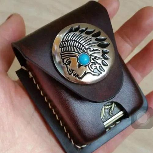 Leather Coffee Handmade Indian Mens Armor Zippo Lighter Case Zippo Lighter Holder with Belt Loop for Men