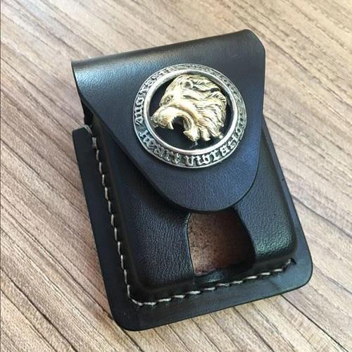 Handmade Black Leather Mens Armor Zippo Lighter Case Zippo Lighter Holder with Belt Loop for Men