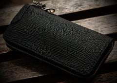 Handmade Leather Black Sharkskin Chain Wallet Mens Biker Wallet Cool Leather Wallet Long Phone Wallets for Men