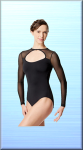 Women Mesh Long Sleeve Dance Leotard Simona - DeltaDancewear