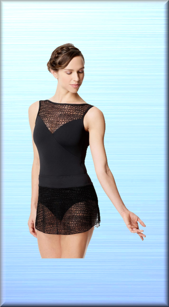 Women Flocked Mesh Pull On Skirt Francine - DeltaDancewear