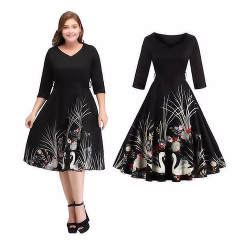 Vintage Belted Swan Printed Swing Dress