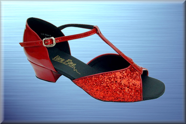 Red Sparkled Low-Block Heel Dance Shoes - DeltaDancewear
