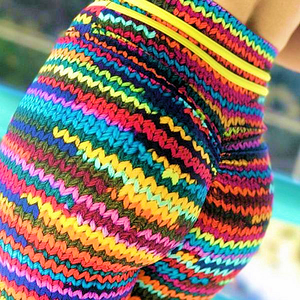 Cascading Rainbow Sweater Printed Yoga Pants