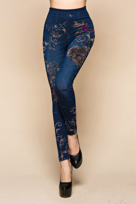 Floral Tango Faux Denim Leggings