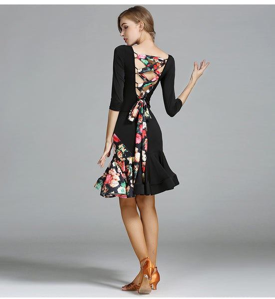 Floral Romance Latin Dance Dress - DeltaDancewear