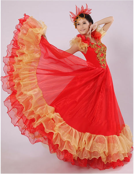 Spanish Bullfight Belly 360 degree Dance Dress Skirt Long robe Flamenco fille Skirts Red Flamenco Dresses For Women Girls - DeltaDancewear