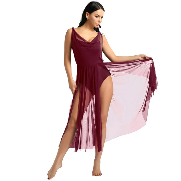 Mesh Split Dress Leotard - DeltaDancewear