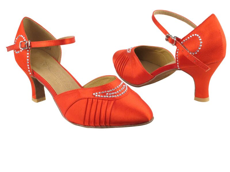 Red Ruched Satin Dance Shoes - DeltaDancewear