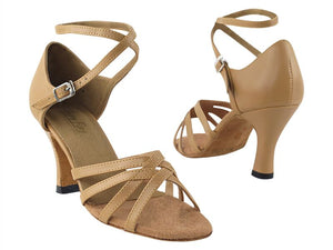 Bold Beige Leather Latin Dance Shoes - DeltaDancewear
