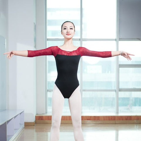 Red Lace 3/4 Sleeve Leotard - DeltaDancewear
