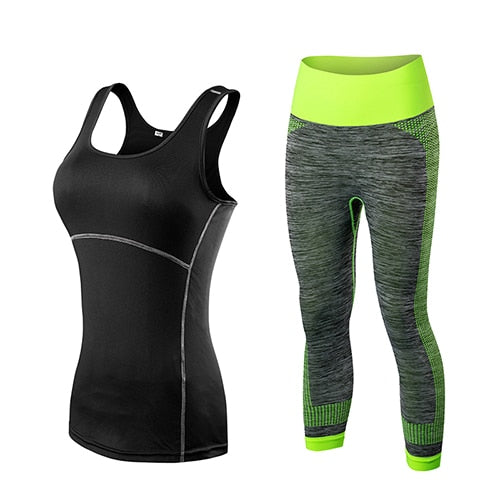 Ladies Sports Running Cropped Top 3/4 Leggings Yoga Gym Training Set Clothing workout fitness women yoga suit - DeltaDancewear