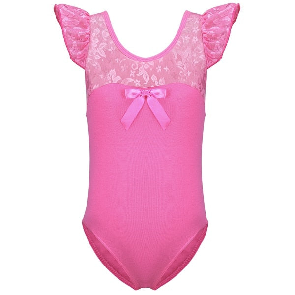 Short Sleeve Lace Top Leotard with Decorative Bow - DeltaDancewear
