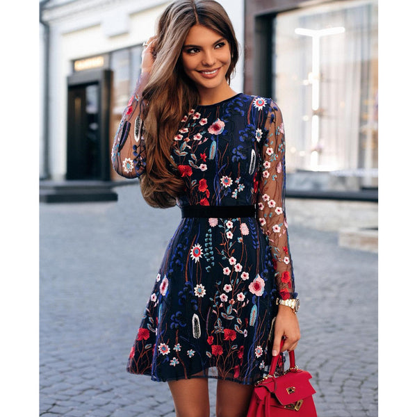 Forever Floral Embroidered Mesh Mini Dress - DeltaDancewear