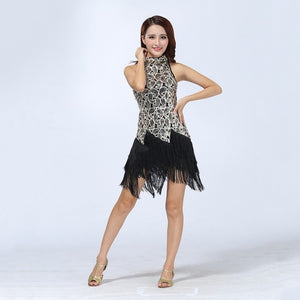 Bewitched Latin Sequined Fringe Dress - DeltaDancewear