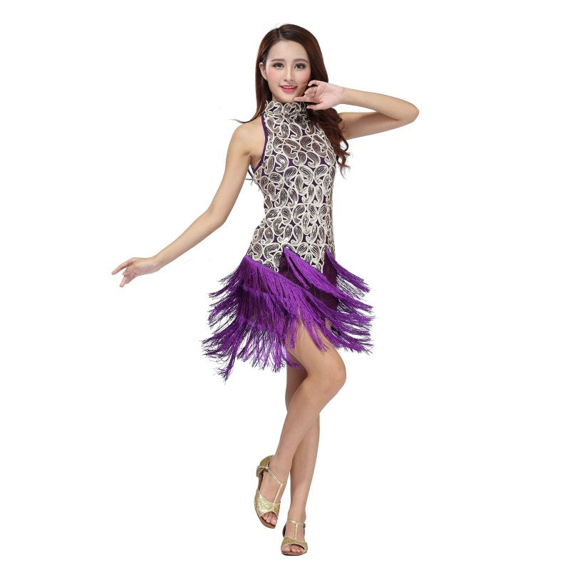 60d7f79fc Bewitched Latin Sequined Fringe Dress – DeltaDancewear