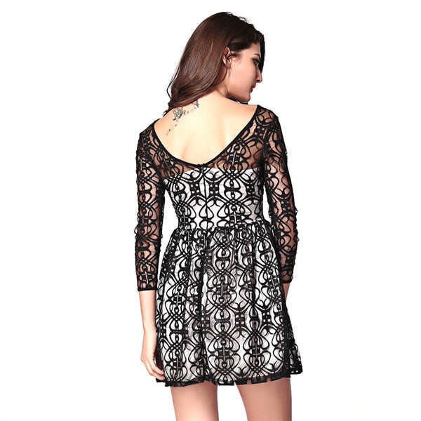 Lace Skater Black And White Dress - DeltaDancewear