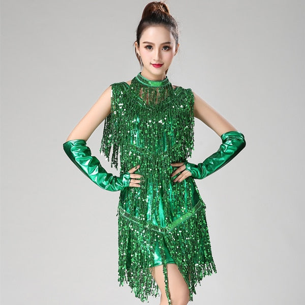 Striking Fringe Beauty Dance Dress - DeltaDancewear
