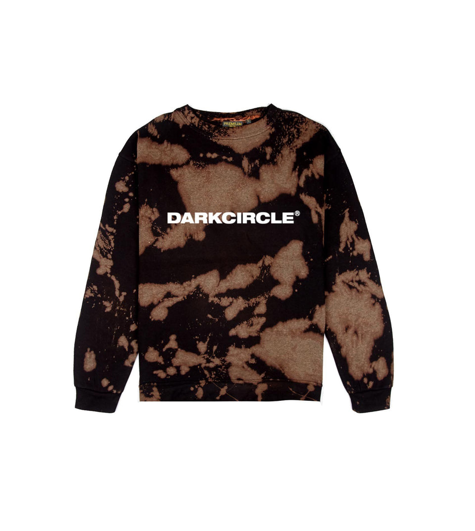 BLEACHED Crew - Black Sweatshirt Dark Circle Clothing