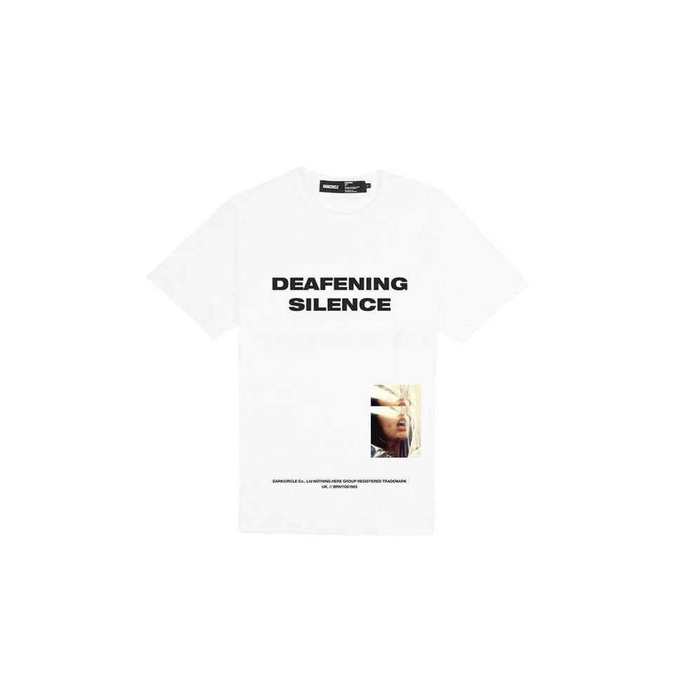 Deafening Silence - White T-shirt Dark Circle Clothing