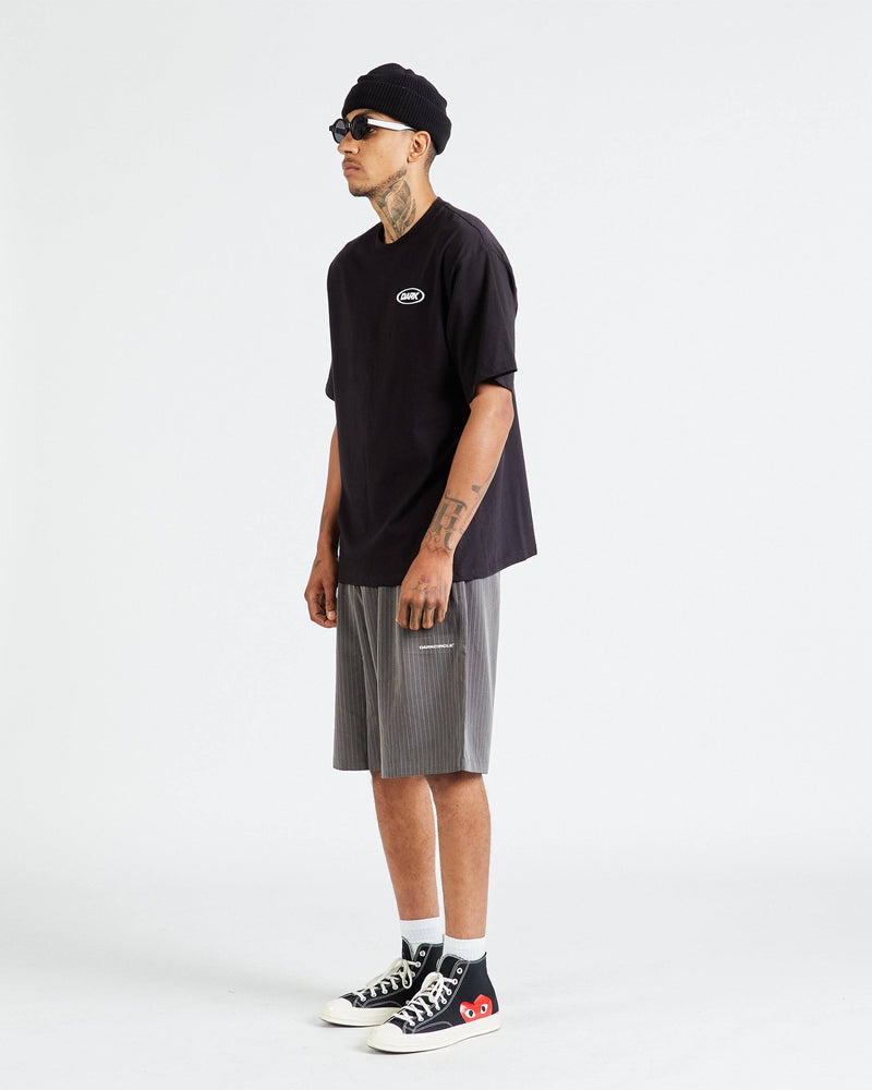 Neue Line Tailored Shorts - Grey / White Pinstripe Pants DARKCIRCLE®